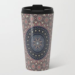 Flower Mandala, Boho Chic, Grey, Pink Travel Mug
