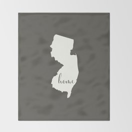 New Jersey is Home - White on Charcoal Throw Blanket