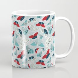 Fluttering in Red and Teal Coffee Mug