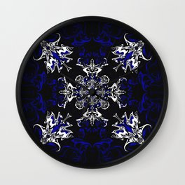 Dark Blue, Black, and White Pattern Wall Clock
