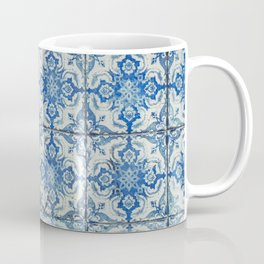 Antique Vintage Portuguese Tiles Pattern - Azulejo Blue and White Coffee Mug