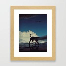 Black dog and Cloud Framed Art Print