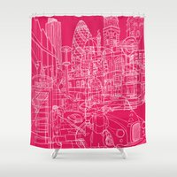 hot pink Shower Curtains featuring London! Hot Pink by David Bushell