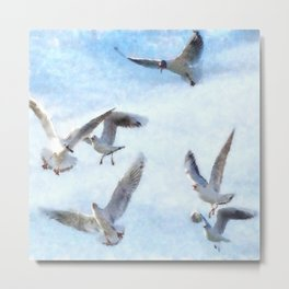 Gulls In Flight Watercolor Metal Print