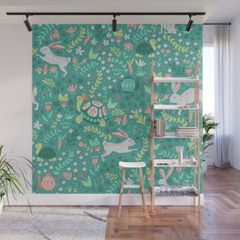 Spring Pattern of Bunnies with Turtles Wall Mural
