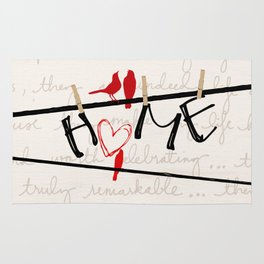 Home Letters Red Bird Clothesline A712 Rug