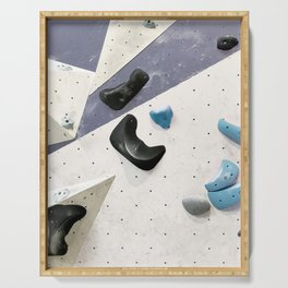 Geometric abstract free climbing bouldering holds black blue men Serving Tray