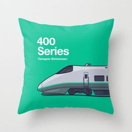 400 Series Yamagata Shinkansen Side Profile Throw Pillow