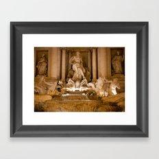 Trevi Fountain At Night Framed Art Print