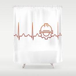 Engineer Heartbeat Shower Curtain