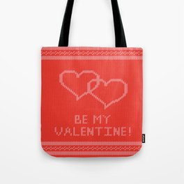 Knitted background with hearts Tote Bag