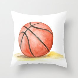 Basketball Watercolor Throw Pillow