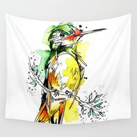 lime Wall Tapestries featuring Lime Hummer by Abby Diamond