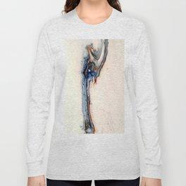 Simple Blue Fluid Flow Abstract Long Sleeve T-shirt