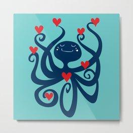 Octopus Hearts You Metal Print