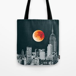 Blood Moon over New York City Skyline Tote Bag