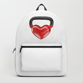 Kettlebell heart vinyl / 3D render of heavy heart shaped kettlebell Backpack