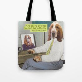 Basset Hound Mid Century Dog Tote Bag