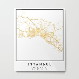 ISTANBUL TURKEY CITY STREET MAP ART Metal Print
