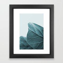 Teal Plant Leaves Framed Art Print