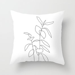 Plant one line drawing illustration - Ellie Throw Pillow