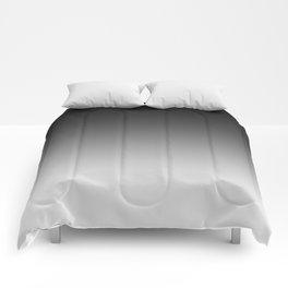 Black to White Horizontal Linear Gradient Comforters