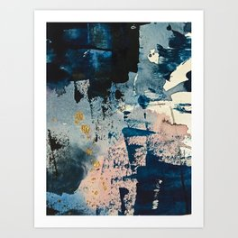 Pleiades: a minimal, abstract mixed media piece by Alyssa Hamilton Art in Pink, Gold, and Blue Art Print
