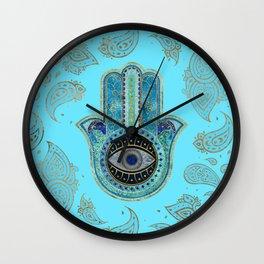Hamsa Hand Hand of Fatima with paisley background Wall Clock