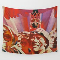propaganda Wall Tapestries featuring Labour communist propaganda in soviet union cccp sssr by Sofia Youshi