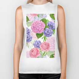 Watercolor floral pattern Biker Tank