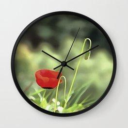 One Poppy Wall Clock