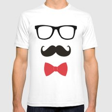 STAY CLASSY - MUSTACHE & BOW TIE  SMALL White Mens Fitted Tee
