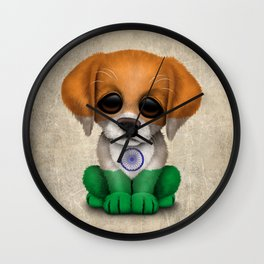 Cute Puppy Dog with flag of India Wall Clock