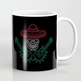 Mexico Flag - Mexican Mariachi Skull Guitarist Coffee Mug