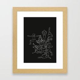 Chalkboard Yoga Pattern - white on black Framed Art Print