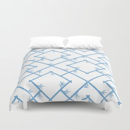 Bamboo Chinoiserie Lattice in White + Light Blue Duvet Cover
