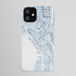 Map Seattle Washington Blueprint watercolor map iPhone Case