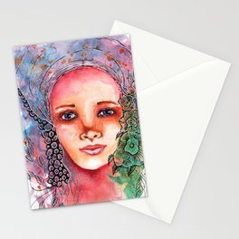 Flower Beauty   Whimsical face with flowers. Floral. Watercolor Stationery Cards