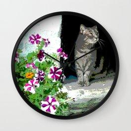 Cat & Flowers Wall Clock