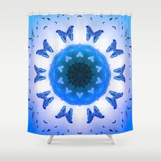 All things with wings (blue) Shower Curtain