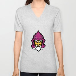 Wizard Head Front Mascot Unisex V-Neck