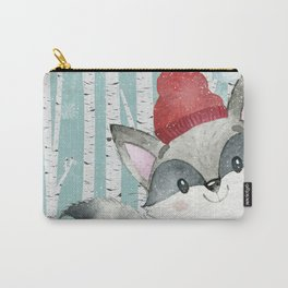 Winter Woodland Friends Cute Racoon Snowy Forest Illustration Carry-All Pouch