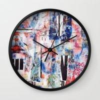 chicago bulls Wall Clocks featuring Bulls Eye by Denzel Boyd