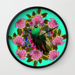GREEN PEACOCK &  PINK ROSE GARDEN TURQUOISE ART Wall Clock