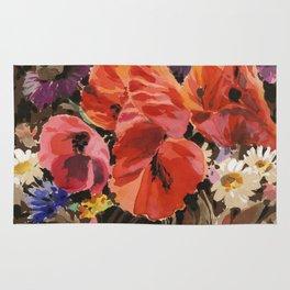 Fashion Textail Floral Print Design, Wildflower Flower Bouquet Allover Pattern Rug