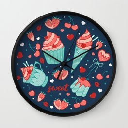 Valentine's sweets - Blue Wall Clock