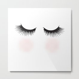 Shy, Woman With Closed Eyes Fashion Illustration  Metal Print