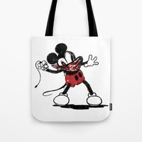 banksy Tote Bags featuring Banksy Mouse by luis pippi