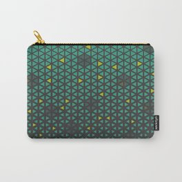 Halftone Mint and Yellow Triangles Pattern  Carry-All Pouch