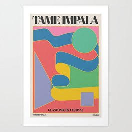 Tame Im pala At Glastonburyy Gig - Poster Canvas Prints- Vintage Colorful Canvas Painting Retro Wall Pictures for Living Room Home Art Print